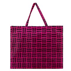 Woven1 Black Marble & Pink Leather Zipper Large Tote Bag by trendistuff