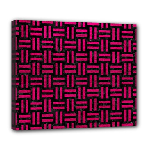 Woven1 Black Marble & Pink Leather (r) Deluxe Canvas 24  X 20   by trendistuff