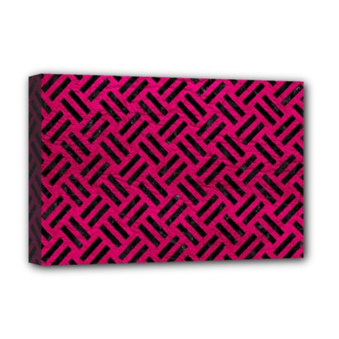 Woven2 Black Marble & Pink Leather Deluxe Canvas 18  X 12   by trendistuff