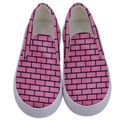 Brick1 Black Marble & Pink Watercolor Kids  Canvas Slip Ons