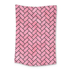 Brick2 Black Marble & Pink Watercolor Small Tapestry by trendistuff
