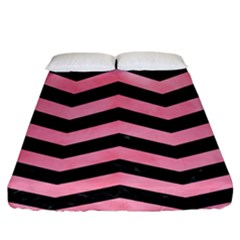 Chevron3 Black Marble & Pink Watercolor Fitted Sheet (king Size) by trendistuff
