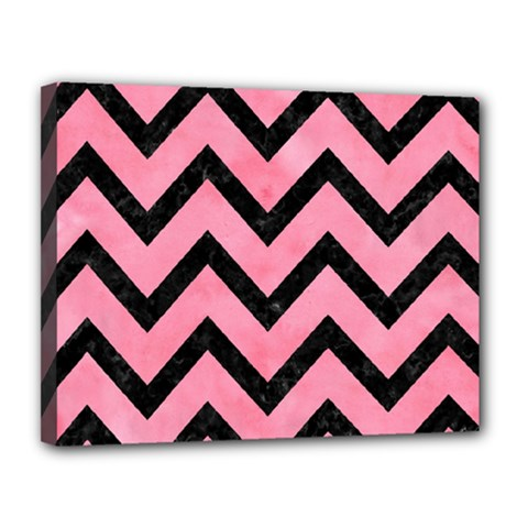 Chevron9 Black Marble & Pink Watercolor Canvas 14  X 11