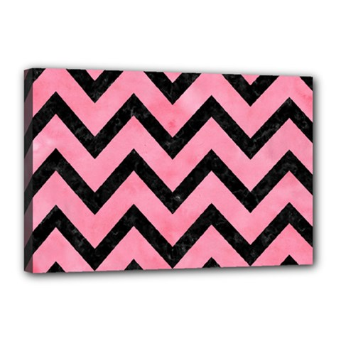 Chevron9 Black Marble & Pink Watercolor Canvas 18  X 12  by trendistuff