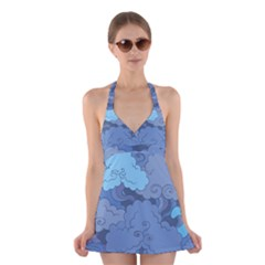 Abstract Nature 1 Halter Dress Swimsuit  by tarastyle