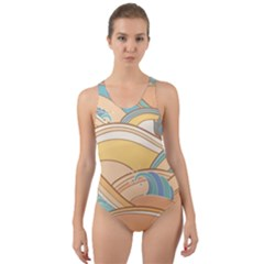 Abstract Nature 5 Cut Out Back One Piece Swimsuit