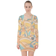 Abstract Nature 5 V Neck Bodycon Long Sleeve Dress