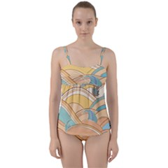 Abstract Nature 5 Twist Front Tankini Set