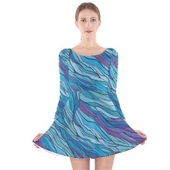 Abstract Nature 6 Long Sleeve Velvet Skater Dress