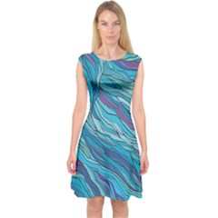 Abstract Nature 6 Capsleeve Midi Dress
