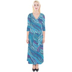 Abstract Nature 6 Quarter Sleeve Wrap Maxi Dress