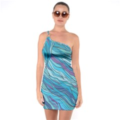Abstract Nature 6 One Soulder Bodycon Dress