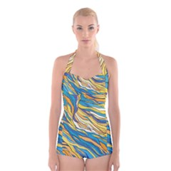 Abstract Nature 7 Boyleg Halter Swimsuit