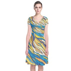 Abstract Nature 7 Short Sleeve Front Wrap Dress