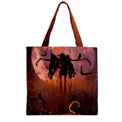 Halloween Design With Scarecrow, Crow And Pumpkin Zipper Grocery Tote Bag by FantasyWorld7