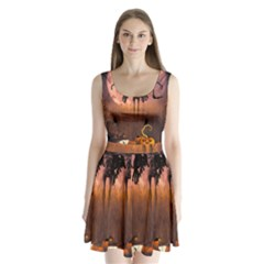 Halloween Design With Scarecrow, Crow And Pumpkin Split Back Mini Dress