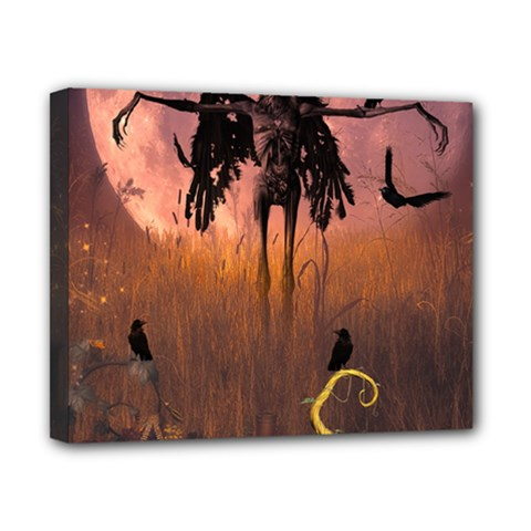 Halloween Design With Scarecrow, Crow And Pumpkin Canvas 10  X 8  by FantasyWorld7