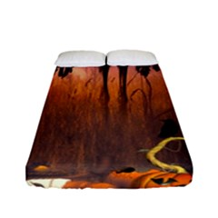 Halloween Design With Scarecrow, Crow And Pumpkin Fitted Sheet (full/ Double Size) by FantasyWorld7