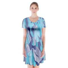 Abstract Nature 14 Short Sleeve V Neck Flare Dress by tarastyle