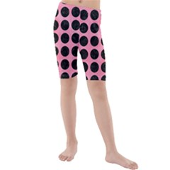 Circles1 Black Marble & Pink Watercolor Kids  Mid Length Swim Shorts by trendistuff