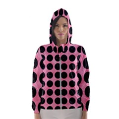 Circles1 Black Marble & Pink Watercolor Hooded Wind Breaker (women) by trendistuff