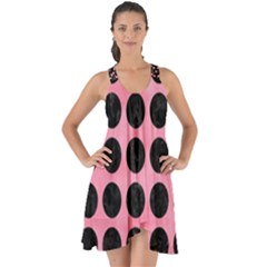 Circles1 Black Marble & Pink Watercolor Show Some Back Chiffon Dress by trendistuff