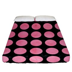 Circles1 Black Marble & Pink Watercolor (r) Fitted Sheet (queen Size)