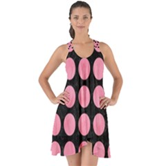 Circles1 Black Marble & Pink Watercolor (r) Show Some Back Chiffon Dress by trendistuff