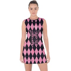 Diamond1 Black Marble & Pink Watercolor Lace Up Front Bodycon Dress
