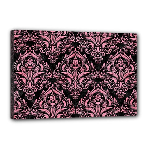 Damask1 Black Marble & Pink Watercolor (r) Canvas 18  X 12