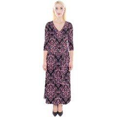 Damask1 Black Marble & Pink Watercolor (r) Quarter Sleeve Wrap Maxi Dress