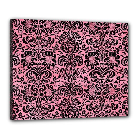Damask2 Black Marble & Pink Watercolor Canvas 20  X 16  by trendistuff
