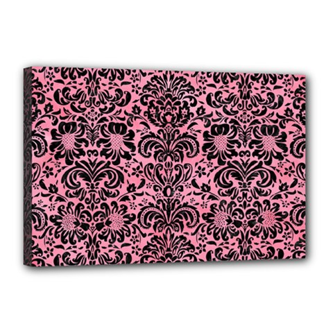 Damask2 Black Marble & Pink Watercolor Canvas 18  X 12
