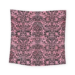 Damask2 Black Marble & Pink Watercolor Square Tapestry (small) by trendistuff