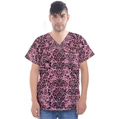 Damask2 Black Marble & Pink Watercolor Men s V Neck Scrub Top by trendistuff