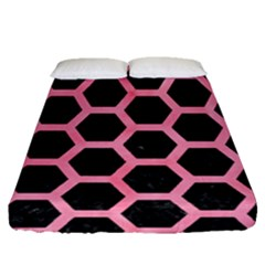 Hexagon2 Black Marble & Pink Watercolor (r) Fitted Sheet (queen Size) by trendistuff