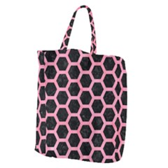 Hexagon2 Black Marble & Pink Watercolor (r) Giant Grocery Zipper Tote by trendistuff