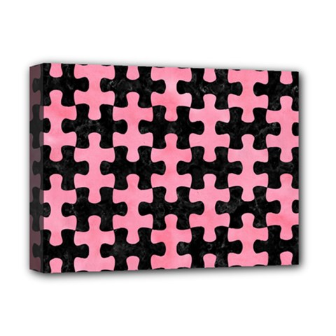 Puzzle1 Black Marble & Pink Watercolor Deluxe Canvas 16  X 12   by trendistuff
