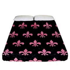 Royal1 Black Marble & Pink Watercolor Fitted Sheet (california King Size) by trendistuff