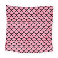 Scales1 Black Marble & Pink Watercolor Square Tapestry (large) by trendistuff