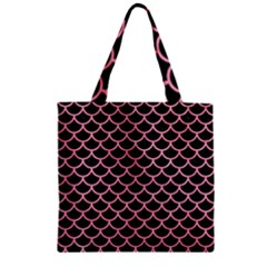 Scales1 Black Marble & Pink Watercolor (r) Zipper Grocery Tote Bag by trendistuff