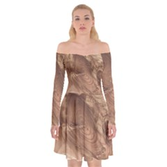 Fantastic Wood Grain 917c Off Shoulder Skater Dress by MoreColorsinLife