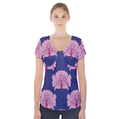 Beautiful Art Nouvea Floral Pattern Short Sleeve Front Detail Top by 8fugoso