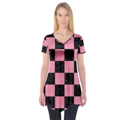 Square1 Black Marble & Pink Watercolor Short Sleeve Tunic