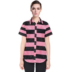 Stripes2 Black Marble & Pink Watercolor Women s Short Sleeve Shirt
