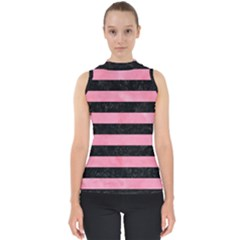 Stripes2 Black Marble & Pink Watercolor Shell Top
