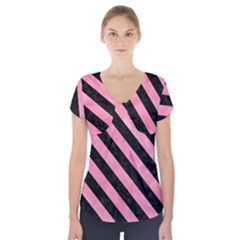 Stripes3 Black Marble & Pink Watercolor Short Sleeve Front Detail Top by trendistuff