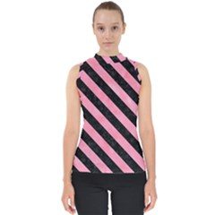 Stripes3 Black Marble & Pink Watercolor Shell Top