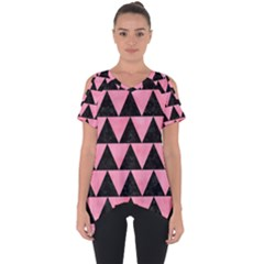 Triangle2 Black Marble & Pink Watercolor Cut Out Side Drop Tee