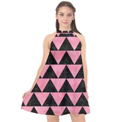 Triangle2 Black Marble & Pink Watercolor Halter Neckline Chiffon Dress